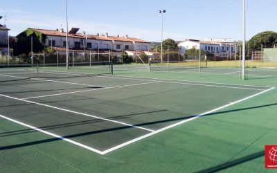 Reparación de las pistas de tenisquick del Club Tenis Calonge